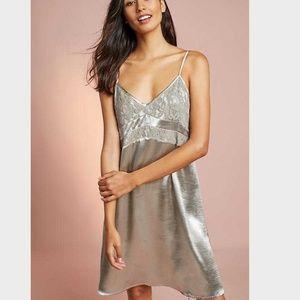 porridge anthropologie silver gray lace dress M